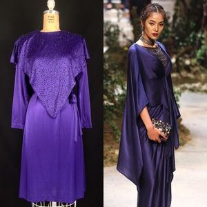 70s Polyester Sequin Cape Disco Belted Party Dress